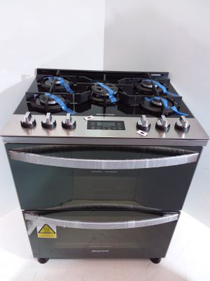 Fogao Brastemp A Gas Mesa De Vidro 05 Bocas Grill C/ Duplo Forno Touch Timer E Autodesligamento - Inox